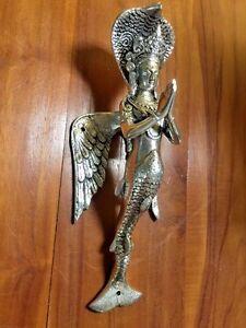 Bronze Mermaid Goddess Statue Sculpture Figure Solid Metal Door Handle Silver