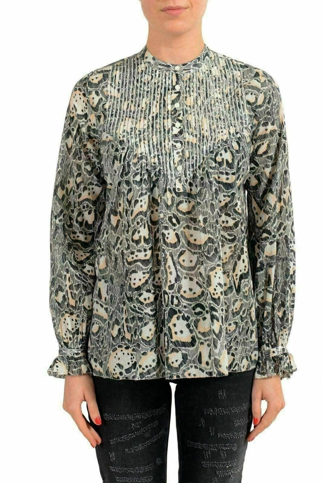 Just Cavalli Multi-color Long Sleeve Women'S Blouse Top US S IT 40