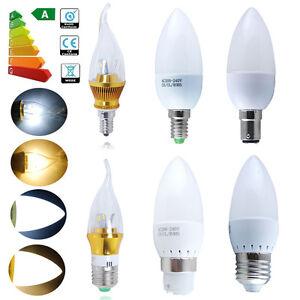 6-12x-E14-E27-B22-B15-LED-Candle-Light-Bulbs-3W-5W-SES-BC-SBC-ES-Flame-Spot-Lamp