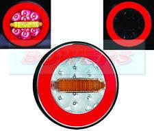 12V / 24V NEON GLOW RING LED REAR ROUND HAMBURGER TAIL LAMP LIGHT TRUCK TRAILER