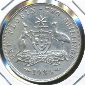 Australia-1936-Florin-2-George-V-Silver-Extra-Fine