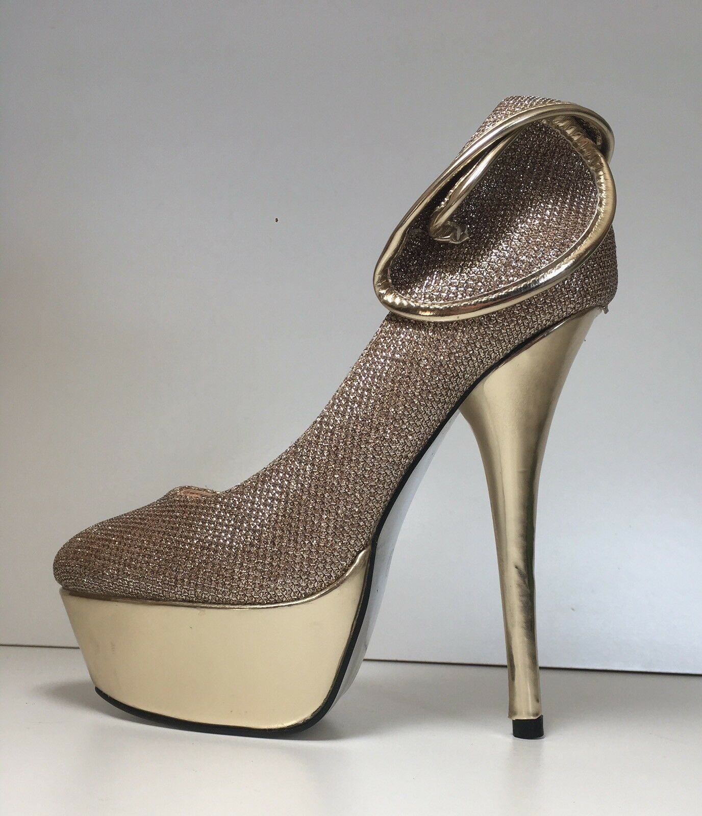 Ladies BNIB Gold Platform Stiletto High Heel Shoes Pumps Pole Essex Sz 3.5, 36