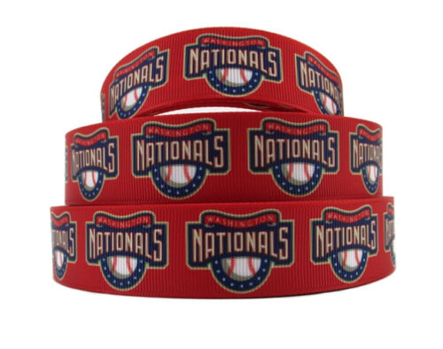 "5 Yards 7//8/"" Washington Nationals Ribbon Baseball Grosgrain Crafts Scrapbooking"