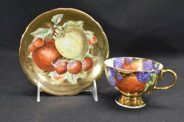 Shafford Hand Decorated Fruit Gold Strawberry Apple Cup & Saucer (Fault)