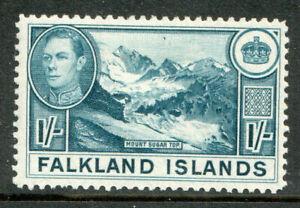 Falkland-Islands-KGVI-1938-1-1s-Dull-Blue-SG158b-Mint-Lightly-Hinged-MLH