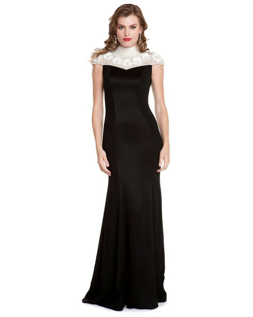 NWT Theia LUX High Mock pearl neck 3D flowers Tuxedo Black crepe dress 10