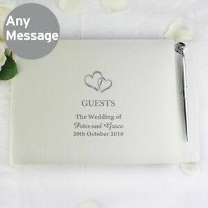 Brand-New-Personalised-Hardback-Wedding-Guest-Book-amp-Pen-Hearts-Design
