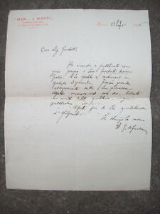 Florentine Edoardo Of Fonseca Antiques 1896 Letter Autograph From'intellectual Anglo
