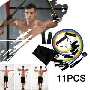 11Pcs-Men-Women-Fitness-Resistance-Bands-Yoga-Workout-Exercise-Crossfit-Tube-UK