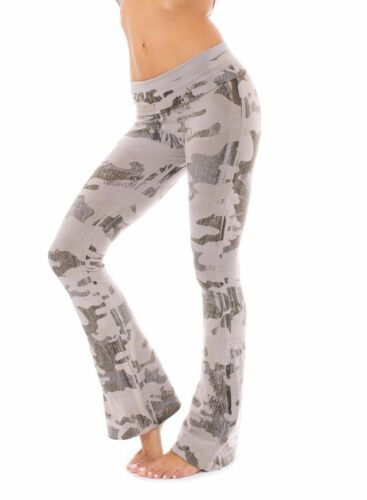Style W-598, Drift Wood CAmo by Contour Roll Down Boho Bell Bottom Flare Pant
