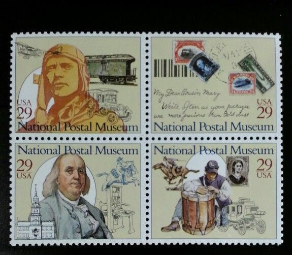 1993 29c National Postal Museum, Block of 4 Scott 2779-