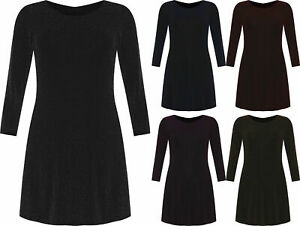 Da-Donna-3-4-manica-NATALE-LUREX-Swing-abito-donna-plus-size-Party-Wear-Dress