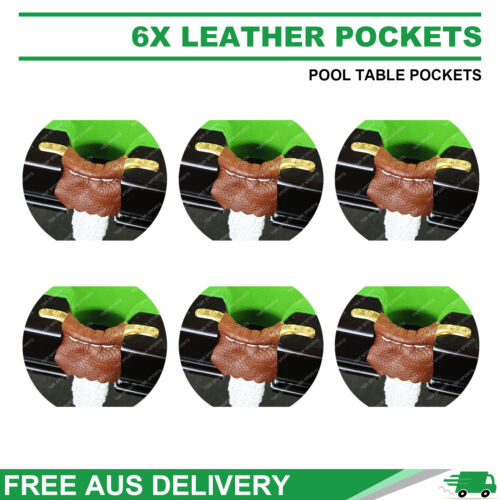 6X LEATHER POOL TABLE POCKETS SET + HEAVY BAG NETS FREE AU SHIPPING
