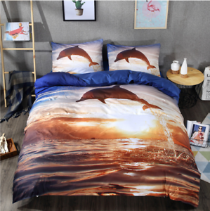 Bedding Cover Duvet Cover With Sheets 3PC 3D Natural Print Dolphin Brand New