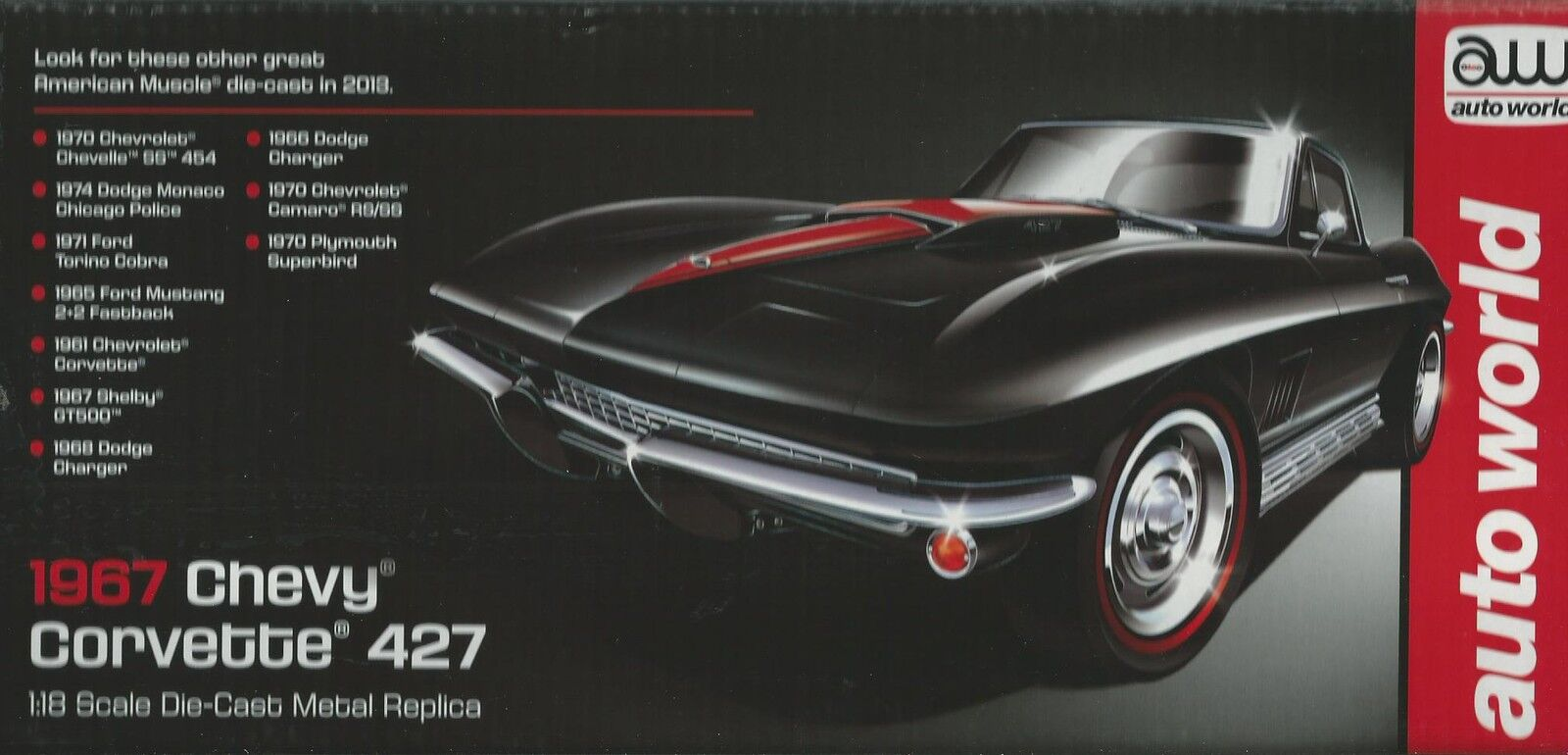ERTL AMERICAN MUSCLE AUTO WORLD 1 18 CHEVY CORVETTE 427 DEL 1967  ART 1004