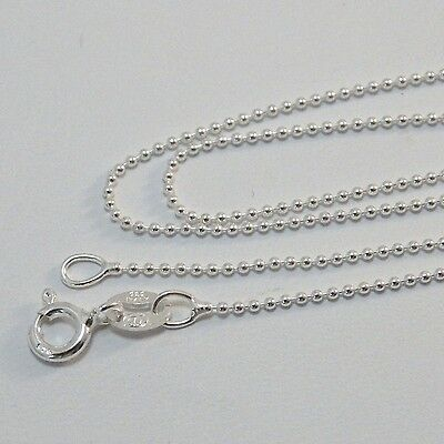 """Sterling Silver BALL BEAD 1 mm Chain 925 Necklace 16"""", 18"""", 20"""", 22"""", 24"""", 30"""""""