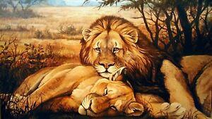 PLAQUE MÉTAL  couple de lion  30 X 20 CM