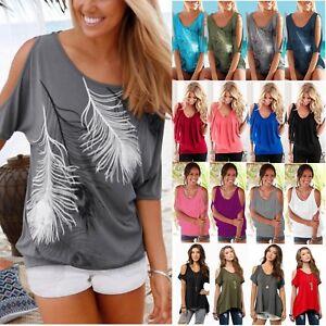 112f593217 Das Bild wird geladen Damen-Sommer-T-Shirt-Schulterfrei-Oberteil-Bluse -Kurzarm-