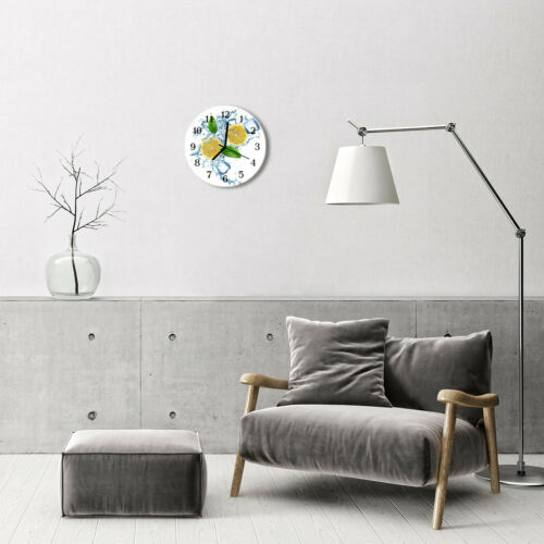 Tulup Echt-Glas Uhr Wanduhr Rund Küche 30 cm  Zitrone gelb
