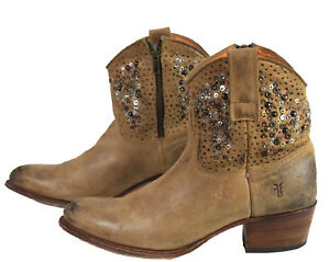 79990e8ceb16 Image is loading Frye-Deborah-Studded-Distressed-TanLeather-Short-Ankle- Boots-