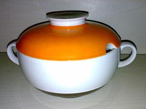 Vintage-70s-80s-Eschenbach-Bavaria-Suppentopf-Terrine-Porzellan-Design-Orange