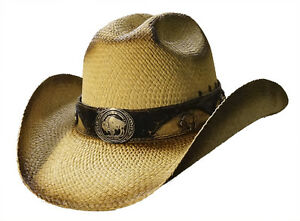 Image is loading BUFFALO-SOLDIER-Austin-Shapeable-Straw-Cowboy-Hat-with- d7afefb5ef0