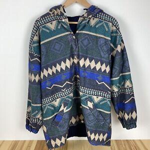 Blue and aztec print Men windbreaker  Size Medium Double sided jacket