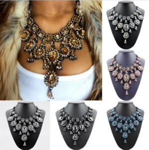 Women-039-s-Crystal-Rhinestone-Choker-Statement-Pendant-Chunky-Bib-Necklace-Jewelry