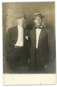 RPPC-Dapper-Young-Gentlemen-Guys-Suits-Straw-Hat-Newsboy-Cap-Real-Photo-Postcard