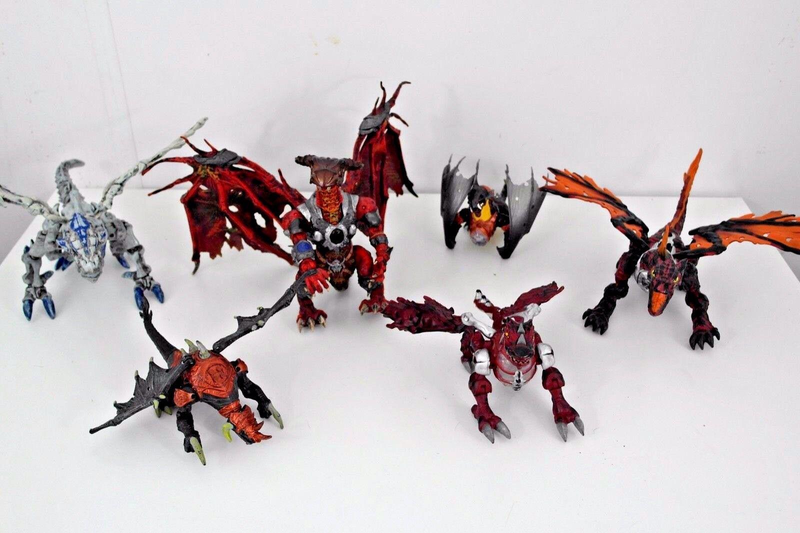 Mega Bloks Plasma Dragon Bundle. 6 Complete Dragons. Fantasy Action Figures.