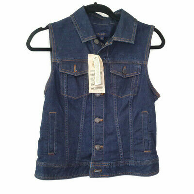 New Talbots Womens Sleeveless Denim Jean Vest Jacket Blue Button Down Small Invigorating Blood Circulation And Stopping Pains