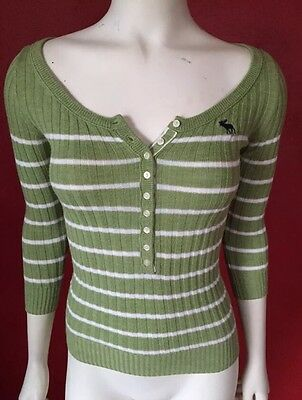 Abercrombie & Fitch Juniors Green Sweater Henley Style Striped Size XS