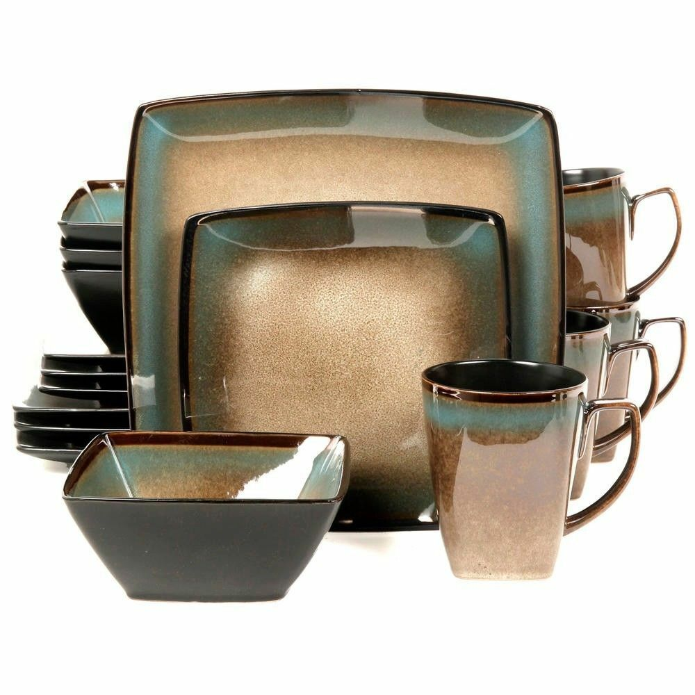 Gibson Tequesta 16pc Square Dinnerware Set- Set- Set- Taupe 8aa8e6