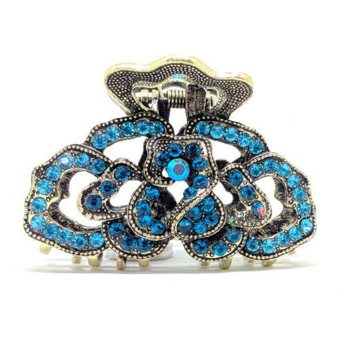 Woman Vintage Elegant Rhinestones Crystal rose metal hair Clip Claw Hair clamp