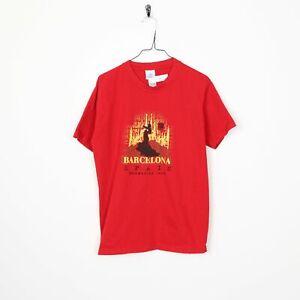 Vintage Barcelone Espagne Big Logo Graphique T Shirt Tee Rouge   Petit S