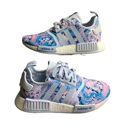 Adidas Nmd R1 J Athletic Running Shoes Pink Blue Tie Dye Youth 6 5