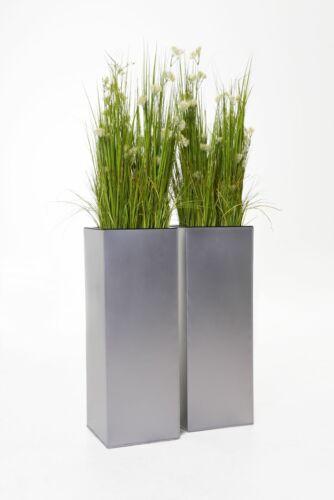 2er Set Pflanzkübel Blumenkübel Zink VIVANNO BLOCK 80 cm Silber