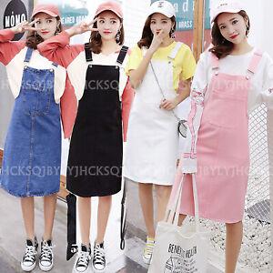 2019 Korea Women Casual Denim Strap Dungaree Overall Dress Knee