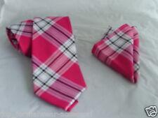 "Pink/White TARTAN Necktie & Hanky Set-TIES-3.5""=9cm Width<Free>P&P 2UK>1st Class"