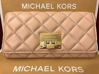NWT MICHAEL KORS QUILTED LEATHER ASTRID CARRYALL WALLET IN BALLET/GOLD (SALE!!)