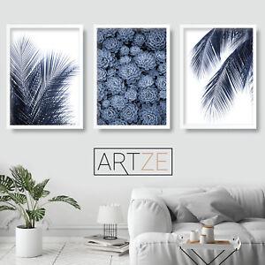 Details About Set Of 3 Navy Blue Wall Art Print Palms Fern Leaf Succulent Poster Picture Decor