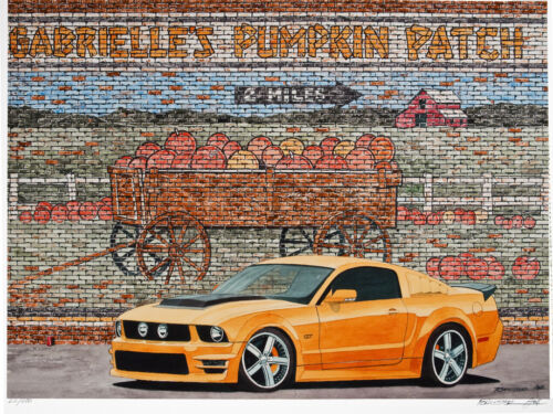"Grabber Orange Ford Mustang Pumpkin Patch 11/"" x 17/"" Art Print by Dana Forrester"