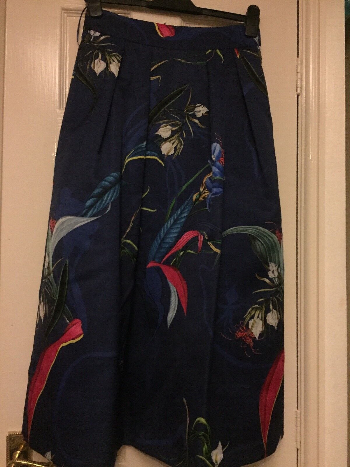 Next Ladies Navy bluee Floral Skirt Size8 Wedding Christening Clothing BNWT Gift