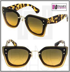 4116b264edbd6 MIU MIU REVEAL Square Sunglasses MU04RS Brown Tortoiseshell Grey ...