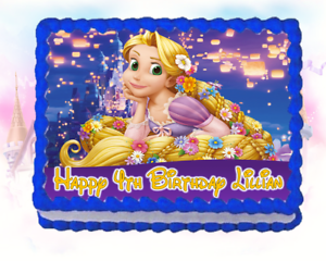 Marvelous Princess Tangled Rapunzel Edible Cake Topper Birthday Frosting Funny Birthday Cards Online Overcheapnameinfo