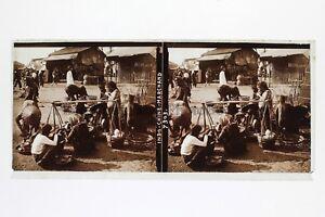 INDO-CHINE-Indochine-Vietnam-Marchand-Plaque-de-verre-stereo-Vintage-ca-1920