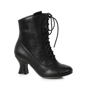 Ellie 253-SARAH Black 2.5 inch Spool Heel Victorian Style Costume Women's Bootie
