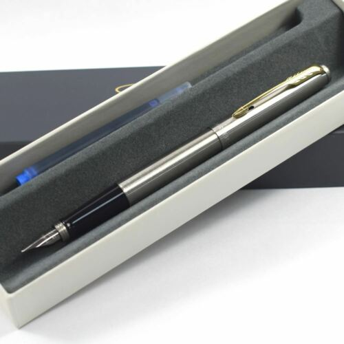 Personalised Engraved Parker Jotter Fountain Pen Steel Gold Trim 2018 Design