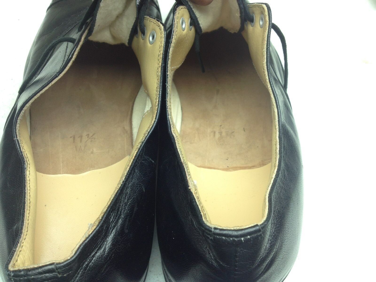 VINTAGE BLACKLEATHER Schuhe LACE UP OXFORD Schuhe BLACKLEATHER SIZE 11.5 W 2375b3