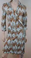 JOSEPH Pale Blue & Brown Stick Print Wrap Around Cover Up Shirt Dress FR40 UK12